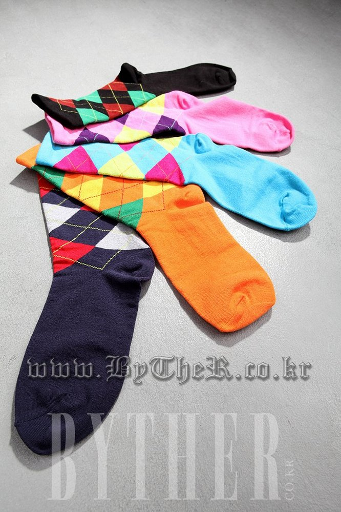 Colorful Argyle Check Socks