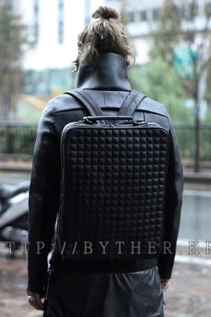 Embossing Square Pattern Backpack