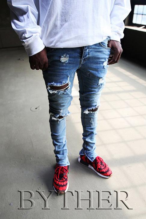 Inner Ankle Zip Line Detail Washing Custom Knee Ripped Jeans