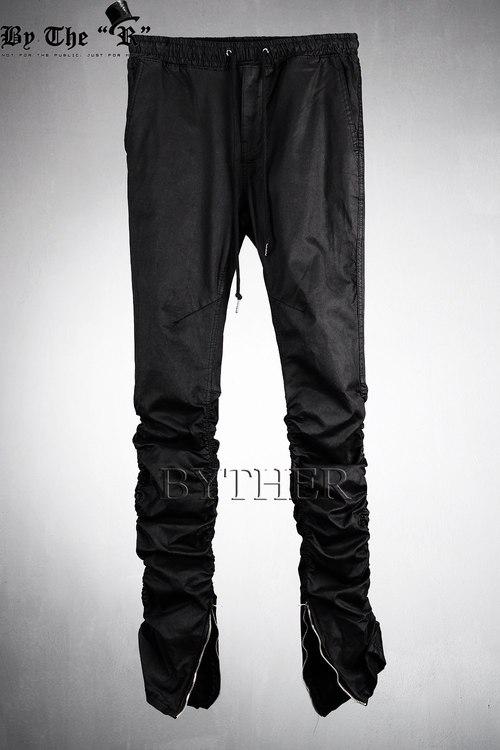 Inner Ankle Zip Line Shirring Detail Slim Fit Waistband Pants