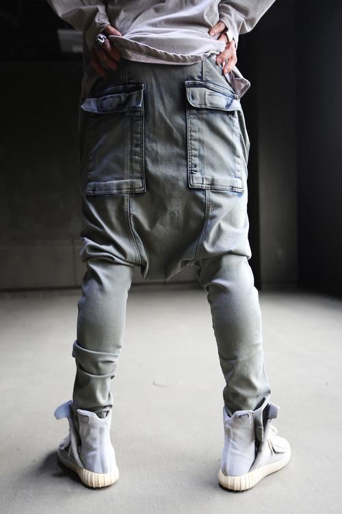 Vintage Color Hard Washed Custom Back Pocket Denim Baggy Pants