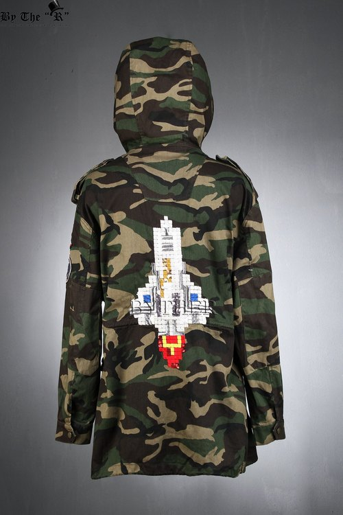 Rocket Embroidered Patch Camouflage Detail Hooded Bomber Jacket