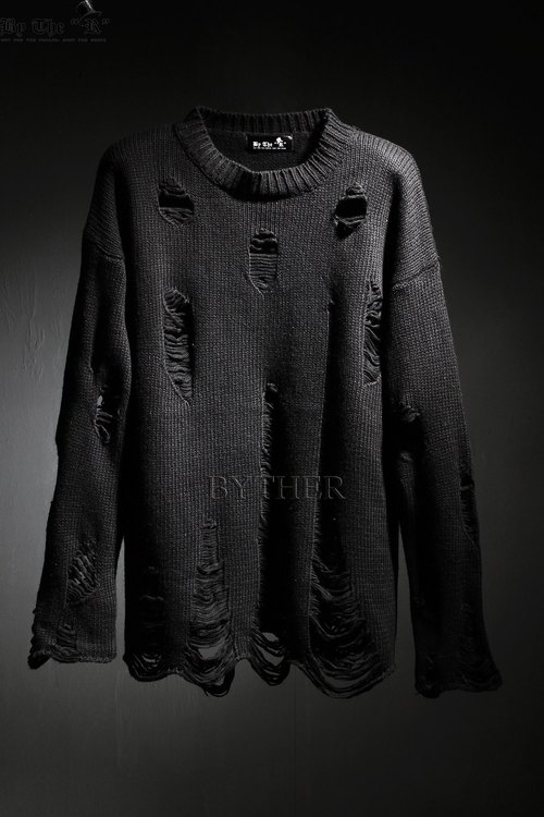 ByTheR Hard Damage Grunge Looking Custom Loose Fit Knit Shirts