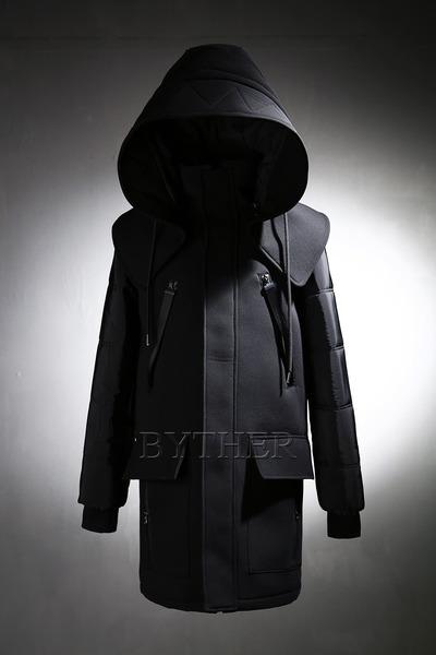 Big Hooded Neoprene Coat
