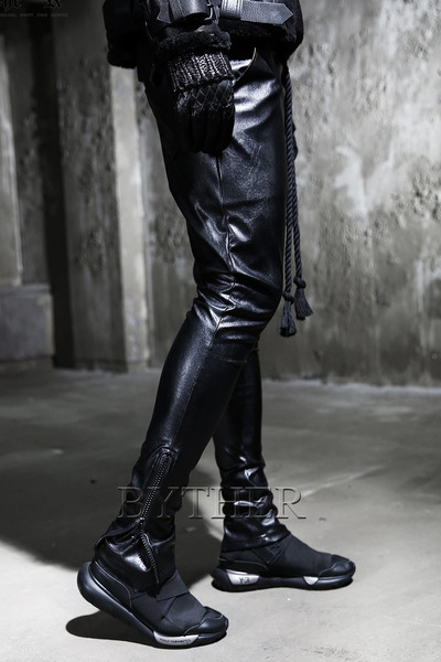 Side zip leather leggings