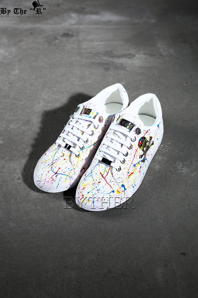 Metal Skull Painting Low Sneakers
