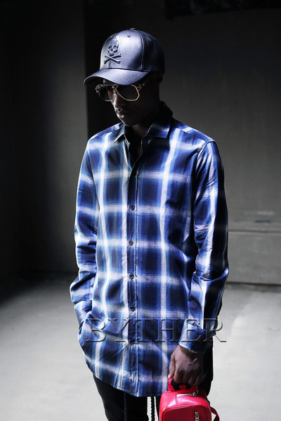 Two-tone check long shirt