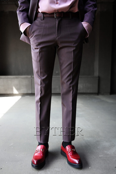 Brown Classic Slim Slacks Pants