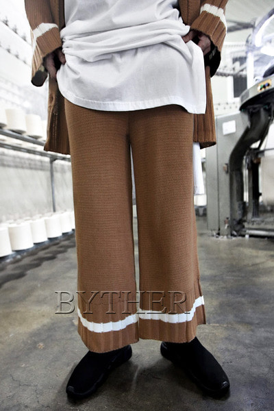 Line Band Knit Wide Pants