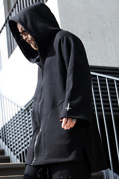 ByTheR X ProjectR Cross Embroidery Zip-up Hoodie
