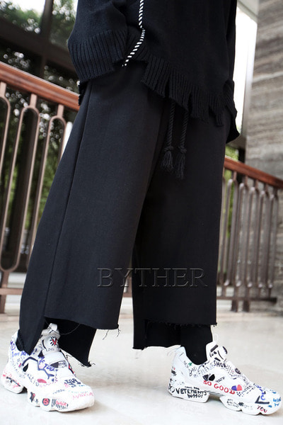 ByTheR Unbalanced Cut Banding Wide Pants