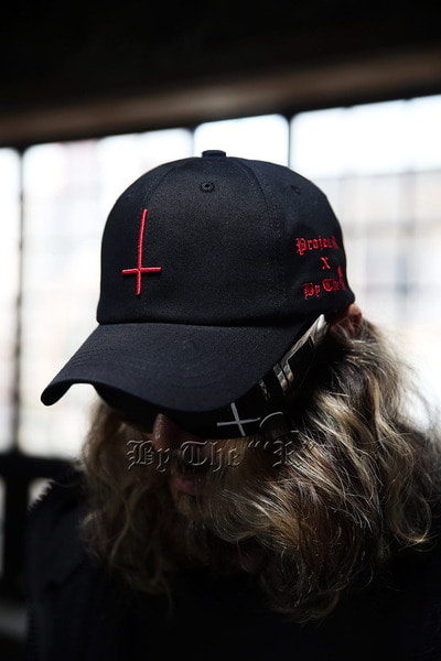 ByTheR X ProjectR Red Embossed Cross Embroidery Ball Cap