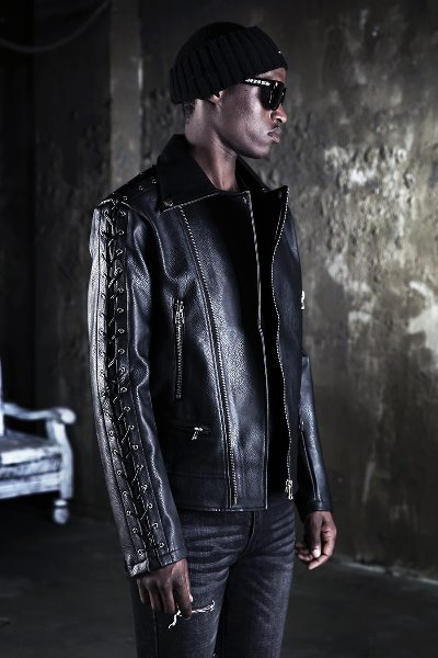 Strings Sleeve Layered Leather Jacket