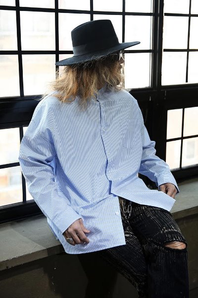 Mandarin Collar Loose Fit Striped Shirt Blue