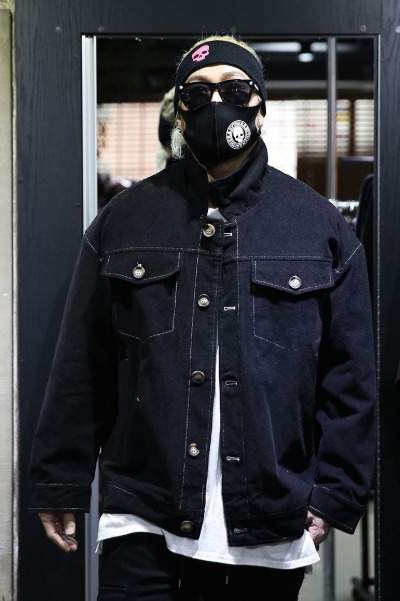 Corduroy Stitch Trucker Jacket Black