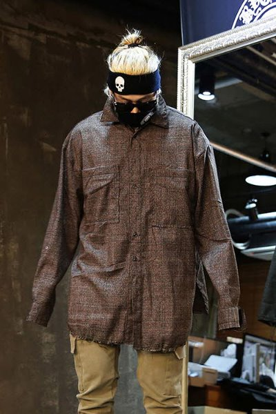 Loose Fit Cut Check Shirt Jacket Brown
