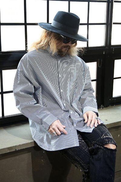 Mandarin Collar Loose Fit Striped Shirt Black
