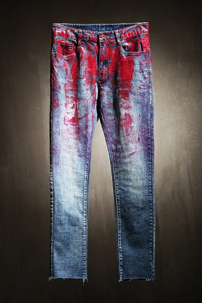 ByTheR Custom Half Red Painted Hem Cut Blue Jeans