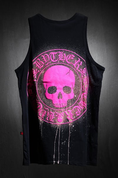 ByTheR Custom Dripping Bleach Skull Logo Embossed Tank Top Pink