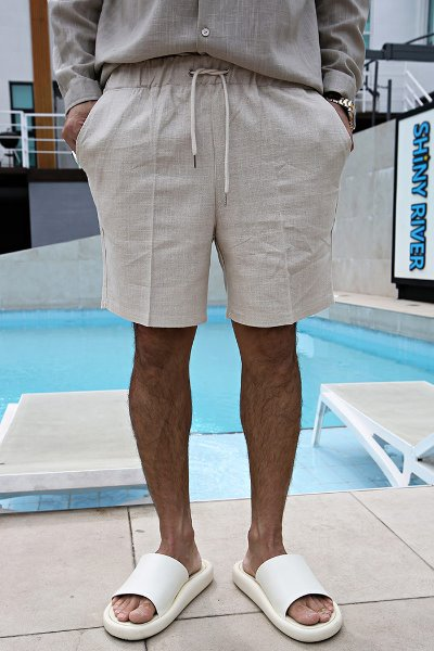 Linen Blended Short Pants with Waist band